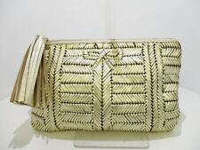 Auth Anya Hindmarch Gold Leather Clutch Bag