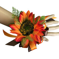 wrist corsage-Sunflower perfect for homecoming prom and outdoor events (Orange)