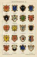 1898 Stampa Antica = STEMMI CORPORAZIONI Commercio = CROMOLITOGRAFIA Old Print