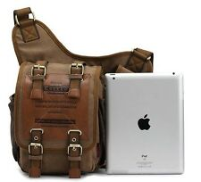 Retro Canvas Travel Shoulder Bags Messenger Bag Travelling Ipad fit Dark Khaki