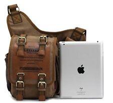 Retro Canvas Travel Shoulder Bags Messenger Bag Travelling Ipad fit Dark Khaki