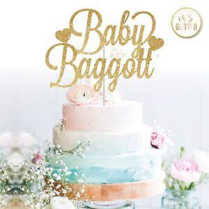 custom baby shower cake topper personalised customised gold glitter baby name