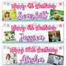 2 Personalised Birthday Banner Photo Bunting Children Adult Party Poster
