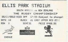 SUD AFRICA V Nuova Zelanda 5 OTT 2013 Ellis Park, Jo 'Burg Ticket Rugby