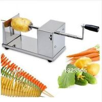 Stainless Steel Manual Potato Slicer Spiral Cutter Twister Tornado Chips Maker