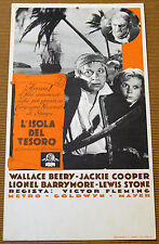 cartoncino pubbl film L'ISOLA DEL TESORO -TREASURE ISLAND Wallace Beery J.Cooper
