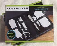 Sharper Image Men's 7 Piece Manicure Set NEW Travel Set Leather Texture Case