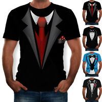1x Mens Fake Suit Tie Tuxedo Funny 3D Print T-Shirt Short Sleeve Casual Tee Tops