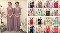Long Chiffon Bridesmaid Wedding Dress Ball Gown Sleeve Prom Evening Vintage Lot