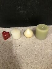 Lot 4 Misalliance Candles Heart Shape Raindrop Red White Green Heavy Solid New