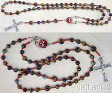 Wearable Catholic Rosary Rosenkranz Chapelet Rainbow Calcilica & Sterling Silver