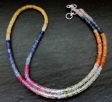 Saphir Kette multicolor facettiert 42-43,5cm 925 Sterlingsilber 47,5ct K227