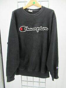 C0475 CHAMPION Men's Long Sleeve Spell Out Pull Over Crew Neck Sweatshirt Size M