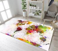 Soft Area Rug World Map Rug and Carpet for Home Living Room Non Slip Floor Mat