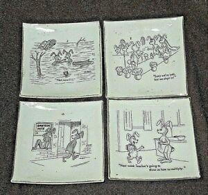 Vintage 4x. Pin Dish Set Hareraisers Series Japan Risque Comic Ceramic Cartoon
