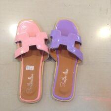 Pink Patent H Flat Slip-On Sandals size US 6.5 EU 37