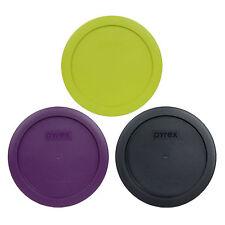 Pyrex 7201-PC 4 Cup (1) Purple, (1) Black, (1) Edamame Green Round Lids 3PK