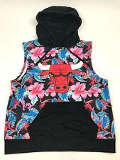 CHICAGO Bulls HAWAIIAN Floral GRAPHIC Hoodie PULLOVER Tank Sweatshirt WOMEN'S L