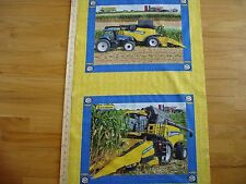 New Holland Farm Machinery Corn Crops Cotton Quilt Fabric Panel Blocks (2)