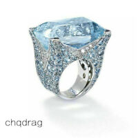 Gorgeous Women 925 Silver Huge Aquamarine Gems Ring Wedding Bridal Jewelry 6-10