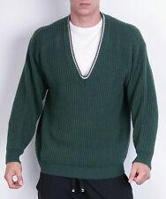 Replay para hombre L suéter verde de lana de cuello en V manga larga