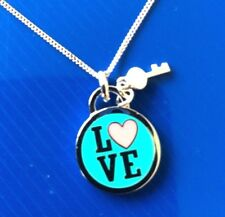 Enamel Love Lockets: Real 925 Silver Enamel Love Pendant Necklace with chain