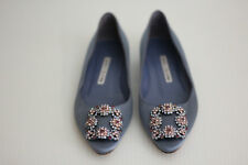 Manolo Blahnik Hangisi Jeweled Embellished Pointy Toe Flat- Periwinkle Satin - 6