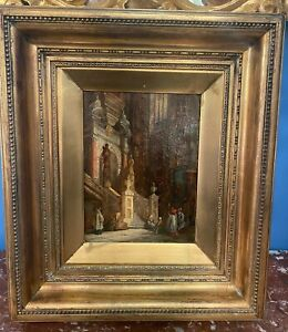 Antique Oil Canvas Painting Church Interior 19th Century in Antique Gilt Frame