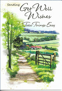 """GET WELL SOON MALE GREETING CARD 7""""X5"""" COUNTRY SCENE FREE P&P"""