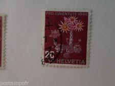 SUISSE SCHWEIZ, 1946, timbre 435, FLEURS, JOUBARBE, FLORE, FLOWERS, oblitéré