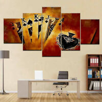 Poker Playing Cards Black 5 Pieces Canvas Wall Art Paint Poster Home Decor