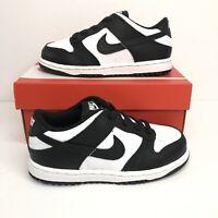 New Nike Dunk Low Black White Toddler (TD) Size 9C CW1589-100