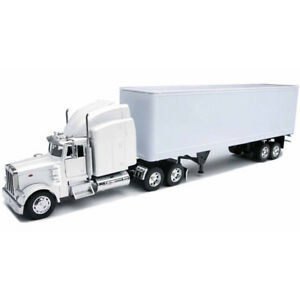 New Ray 1/32 Peterbilt 379 Semi with Long Container Trailer Plain White SS 14363