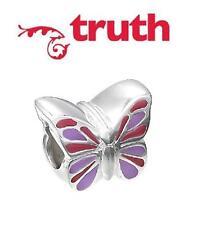 Genuine verità PK 925 Argento Sterling & Smalto Rosa Viola Farfalla Charm Bead