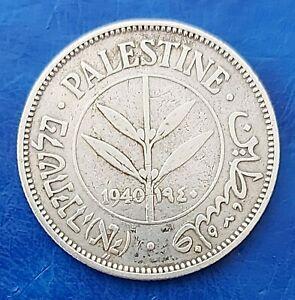 Israel Palestine British Mandate 50 Mils 1940 Silver Coin VF