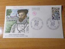 FRANCE 1973, FDC 1° JOUR, CELEBRITE, AMIRAL DE COLIGNY, timbre 1744, CELEBRITY