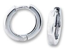 Classic 10k White Gold Round Huggie Hinged Hoop Earrings 14mm