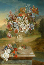 """oil painting handpainted on canvas"""" Flowers in a Vase of White Marble """"@10157"""