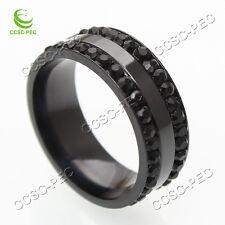 10PCS Black CZ Stainless Steel Ring Men/Womens Titanium Wedding Engagement Band