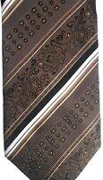 """Zanetti Men's Silk Tie 59"""" X 4"""" Brown w/ multi-color British Stripes"""