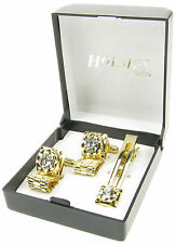 GOLD SHIRT CUFF LINKS TIE CLIP PIN CLASP MENS WEDDING XMAS GIFT BOX NEW UK CHN51