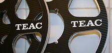 "2 X TEAC BLACK LOOK SIX SPOKE METAL HUB REEL TO REEL 10.5"" X 1/4""  CARBON FIBER"