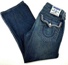 True Religion Men's Jeans Size 34 Boot Cut Distressed Flap Pocket Black Denim