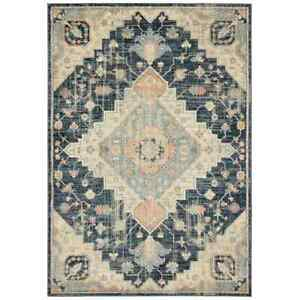 allen + roth ellaria 5 x 8 blue indoor distressed/overdyed area rug