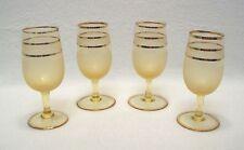 "Vtg Mid Century Modern Barware Frosted Gold Stripes Shot Liqueur Glasses 4.5"""