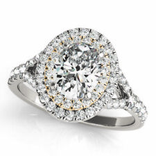 1/4 Ct Round Cut Natural Diamond 14k White Gold Oval Halo Engagement Ring