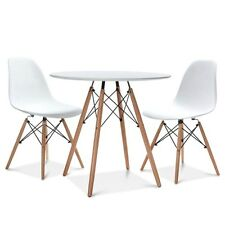 "mid century modern 32"" dining table & dsw 2x chair dowel leg wood.eames,esque"