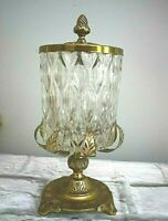 "Glass Apothecary Jar w/ Brass Lid & Stand Pedestal 12"" Hollywood Regency Vintage"