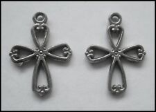 PEWTER CHARM #2374 x 2 LITLE CROSS (21mm x 16mm) 1 bail