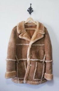 Vintage Genuine Sheepskin Shearling Jacket Coat Rancher Marlboro Size 44 (L)
